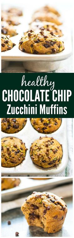 Chocolate Chip Banana Zucchini Muffins. Moist, healthy zucchini muffins that are absolutely DELICIOUS! Easy to make, perfect for on-the go breakfasts and snacks, and kids love them too! Recipe at http://wellplated.com @Well Plated (Bake Zucchini Clean)