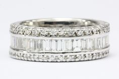 Vintage 3 Carat Total Weight 18K White Gold Diamond Eternity Band