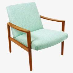 Dänischer Sessel in Blaugrün