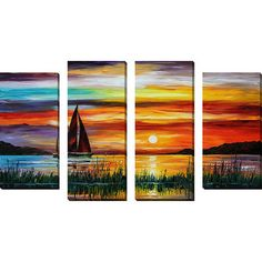 Framed Canvas Art 'Florida Lake' by Leonid Afremov 4 Piece Painting Print on Wrapped Canvas Set