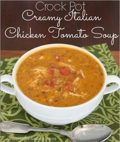 Combine two beloved slow cooker soup recipes into one with this creative recipe for Creamy Italian Chicken Tomato Soup. This delicious, Italian-style chicken soup recipe for slow cooker is packed with flavor.