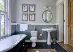 Cottage 3/4 Bathroom with High ceiling, 14 sq. ft. Cape Cod MDF Beadboard Planks, Pedestal sink, slate tile floors, Clawfoot