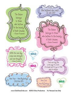 Dress up your journals & be inspired. - Inspirational New Year Journal Stickers  (Printable)