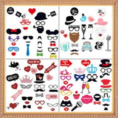 2017 New Wedding Decoration Photo Booth Props Funny Glasses Mustache Birthday Party Supplies Photobooth 22/27/31Pcs #clothing,#shoes,#jewelry,#women,#men,#hats,#watches,#belts,#fashion,#style