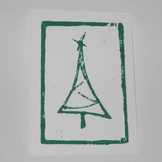 Simple linocut/stamped Christmas tree