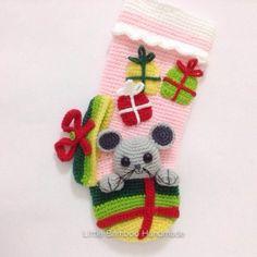 Little Mouse Christmas Stocking crochet pattern by Little Bamboo Handmade Christmas Stocking Pattern, Christmas Knitting, Diy Christmas Ornaments, Christmas Cats, Crochet Christmas, Christmas Ideas, Crochet Stocking, London Christmas, Homemade Ornaments