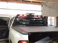 Hey guys here's my back rack I built. Going to build a few more if anyone wants one! Ford Trucks, Pickup Trucks, Headache Rack Trucks, Truck Bed Tool Boxes, Truck Bed Accessories, 4x4 Off Road, Snow Plow, Chevy Silverado, Welding