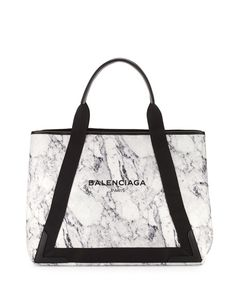 BALENCIAGA Navy Cabas Medium Marble-Print Tote Bag, Black/White. #balenciaga #bags #canvas #tote #leather #lining #shoulder bags #hand bags #