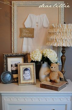 framed blessing gown + ruffle lamp shade.