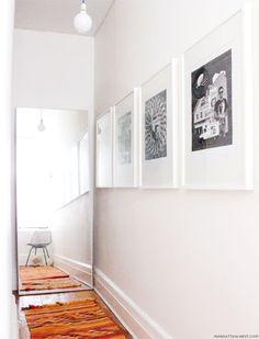 HOVET Mirror --bedroom (photo via manhattan nest) Discount Bedroom Furniture, Condo Furniture, Condo Living, My Living Room, Hallway Mirror, Mirror Bedroom, Hallway Art, Hallway Ideas, Houses