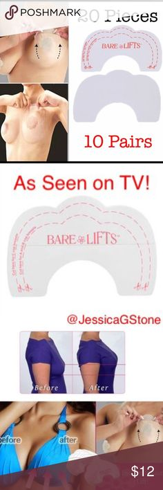 There Back20 Pcs/10 Pair of Bare Lifts AMAZING Bare Lifts!   These bra tapes are designed to give breasts an extra lift. They are latex free and skin friendly and simply get placed on the breast for instant lift and a more youthful look. These can even be worn without a bra which is great for tank tops, dresses and more! These fit a, b, c and d cups and are invisible.   Package includes 20 tapes/10 Pairs   Your orders are a blessing and I'm grateful for your business! Thanks for stopping…
