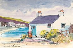 Signed Original Watercolour -Seaside Cottage - by Annabel Burton Beach Watercolor, Pen And Watercolor, Watercolor Landscape, Watercolor Paintings, Watercolours, Pen And Wash, Landscape Drawings, Urban Sketching, Mail Art