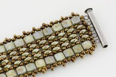 czech two hole tiles super duo bracelet beaded diy