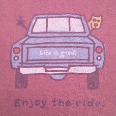 LIFE IS GOOD ENJOY THE RIDE T-Shirt Mens Large Man and Dog in Pickup Truck #LifeIsGoodEnjoyTheRide