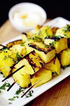 Grilled Pineapple Kabobs with Honey Yogurt Sauce (Bake Zucchini Planks)