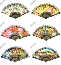 Unfold Width: C hinese Japanese Folding Flower Print Lace Hand Fan! Spanish Flowers, Fan Decoration, Flower Prints, Lace Trim, Japanese, Hand Fans, Fabric, Projects, Pattern