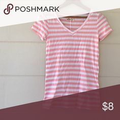 Hollister shirt Pink and white striped Hollister shirt size xsmall 60% cotton 40% modal Hollister Tops Tees - Short Sleeve