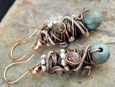 beautiful 'tangled' earrings by wire artist Joanne Ortiz (The Purple Lily Designs)   #wirework #earrings #jewelry