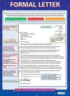 Great tool - perfect structure to writing a formal letter. English Writing Skills, English Lessons, English Words, English Vocabulary, English Grammar, Teaching English, Learn English, English Letter Writing, English English