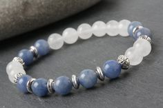 Quartz bracelet, Aquamarine bracelet, yoga bracelet, blue stone bracelet, white stone braceletwomen bracelet, meditation bracelet Aquamarine - Courage, Peace, Communication, more Aquamarine is most powerful as a meditation stone, as it brings a great peace and serenity. Some