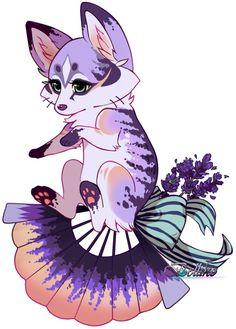Lavender Foxfan//Offer To Adopt! //CLOSED by Belliko-art.deviantart.com on @DeviantArt