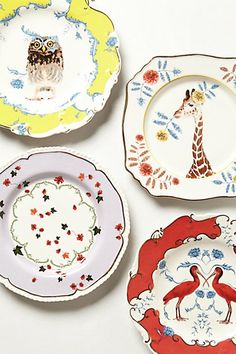 Anthropologie - Natural World Dessert Plate. There's also a chameleon that used to be part of the series that I'd love. 8 plates would be great. Ceramic Plates, Ceramic Pottery, Decorative Plates, Dessert Design, Design Plat, Pip Studio, Nature Table, Plates On Wall, Plate Wall