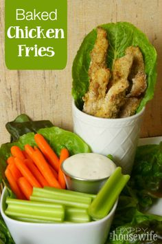 If you're looking for a delicious finger food for a crowd, these Baked Chicken Fries are the perfect hearty appetizer. With very few ingredients, it's easier than you might think to make these delicious snacks.   The Happy Housewife
