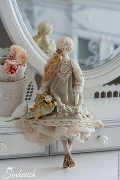 Купить Бьянка - бежевый, тильда, кукла интерьерная, кукла текстильная, кукла Тильда, для декора, для уюта