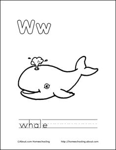 My W Book Whale Coloring Page