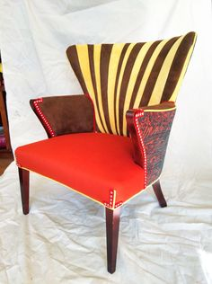 vintage midcentury wingback chair done funky sold