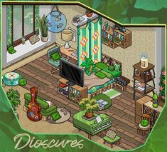 Habbo Hotel, Pixel Drawing, Architecture Background, Green Rooms, Room Ideas Bedroom, Cozy Cabin, Game Room, Pixel Art, Home Art