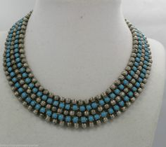 Vintage Egyptian Revival Bib Necklace of Turquoise Blue & Silver Beads #EgyptianRevivalBibNecklace