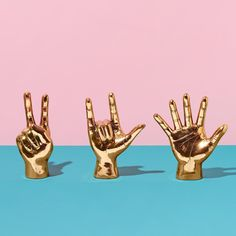 We've got brass hands to say peace, love, and high five!