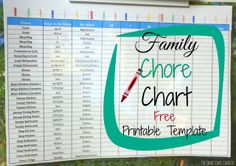 Family Chore Chart-Printable