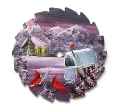 Hand Painted Miniature Round Saw Magnets by LindasMountainCrafts