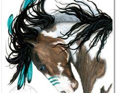 Majestuoso Pinto turquesa pintura de guerra americano nativo espíritu caballo arte-impresión de Giclee de Bihrle mm154