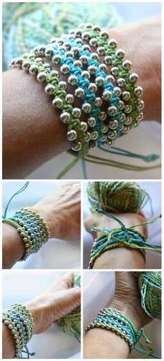 Single Wrap Bracelet, Cotton Macrame Bracelet, Silver Beaded Bracelet. Friendship Bracelet. Boho Bracelet, Adjustable Bracelet, Blue Green