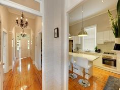 Forestville home - kitchen / hallway view Home Kitchens, Homes, Table, Inspiration, Furniture, Home Decor, Biblical Inspiration, Houses, Decoration Home