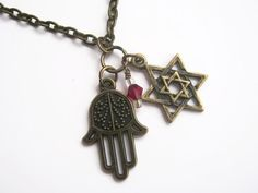 Hamsa Star of David Necklace, Personalized Birthstone Jewelry, Religious Necklace, Judaism Jewelry, 24 inches, Choose Your Length, Bronze