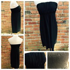 Joy Joy Black Strapless Dress - Small Joy Joy Black Strapless Dress  Size Small  Gathered in the back to help it stay up Great detail at bust  95% Polyester, 5% Spandex Fully lined  Great movement! Excellent condition Smoke free and cross posted Joy Joy  Dresses Strapless