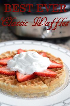 These waffles are the BEST EVER! The batter is so easy to make and keeps in the fridge for up to one week for light, crispy, fluffly waffles in a flash! Waffle Maker Recipes, Waffle Toppings, Classic Waffle Recipe, Smoothie, Muffins, Good Food, Yummy Food, Breakfast On The Go, Breakfast Ideas
