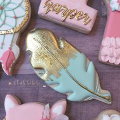 Feather Cookies. Boho birthday cookies. @blushbakeryca