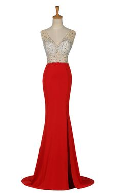 Cap Sleeve Red Beading Sequined Crystal Sleeveless Floor Length Long Prom Dress