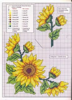 Sunflowers cross stitch pattern and color chart.