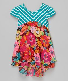 Look what I found on #zulily! Aqua Floral Cap-Sleeve Dress - Infant & Girls by Youngland #zulilyfinds