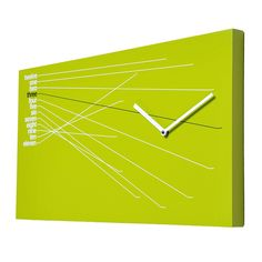 Marvelous modern high-end rectangular green analog wall clock with beautifully arranged lines drawn to the hour markers.