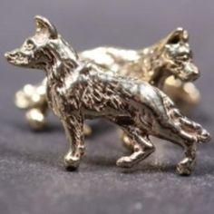 German Shepherd gold-plated EARRINGS (studs)