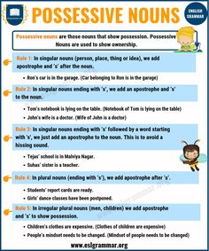 Nouns: Types of Nouns with Definition, Rules & Useful Examples - ESL Grammar Esl Grammar, Teaching English Grammar, Grammar Rules, Grammar Lessons, Possessive Nouns Rules, Possessive Nouns Examples, English Pronouns, English Sentences, Types Of Nouns