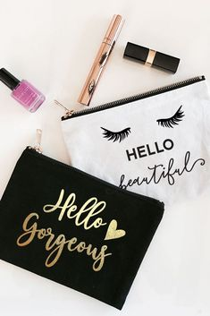 Hello Theme Canvas Cosmetic Bag Style White/Eye Lash - Hello Theme Canvas Cosmetic Bag Style White/Hello Beautiful Source by davidsbridal Cute Makeup Bags, Diy Makeup Bag, Makeup Kit, Bridesmaid Gifts Unique, Bag Quotes, Diy Crafts To Do, Hello Beautiful, Gorgeous Eyes, Fashion Bags