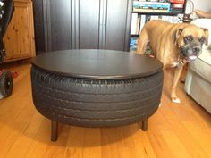 Recycled Tire Coffee Table - Not for my house, but would be neat for Morgan's future office.